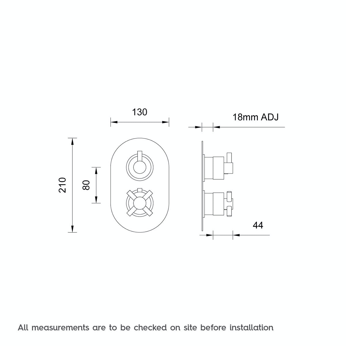 Dimensions for Mode Alexa oval twin thermostatic shower valve