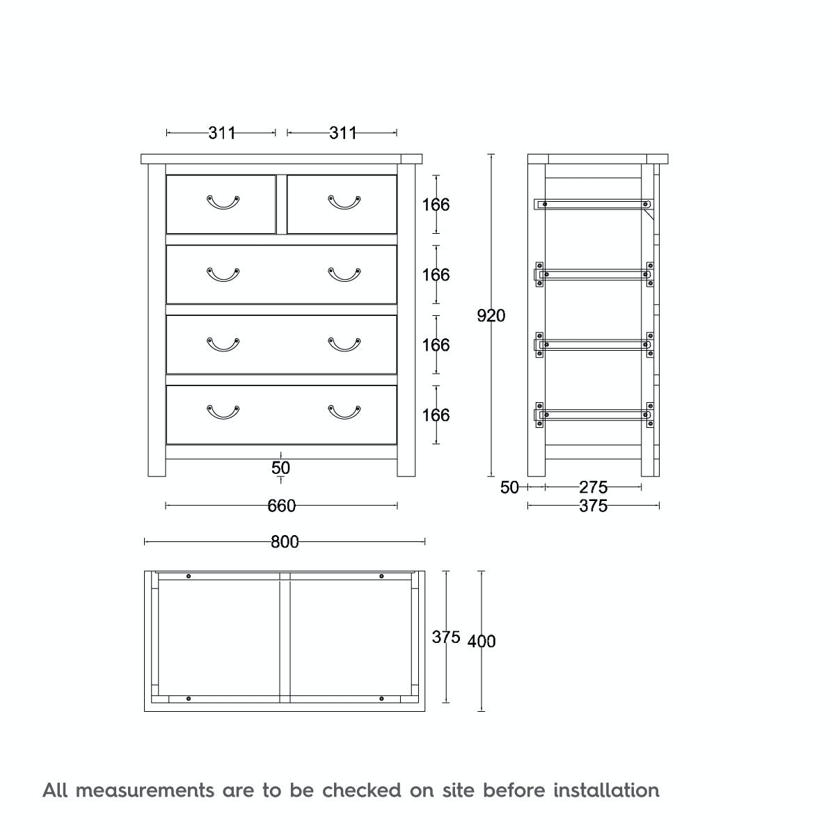 Dimensions for MFI Rome reclaimed pine 2 over 3 drawer chest