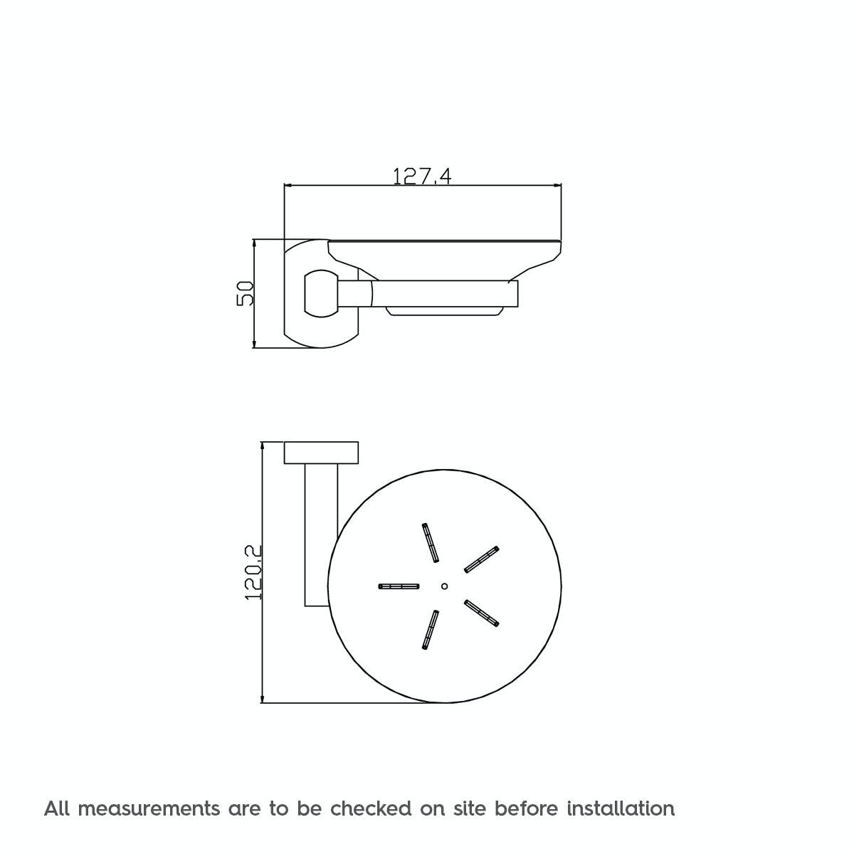 Dimensions for Solar glass soap dish
