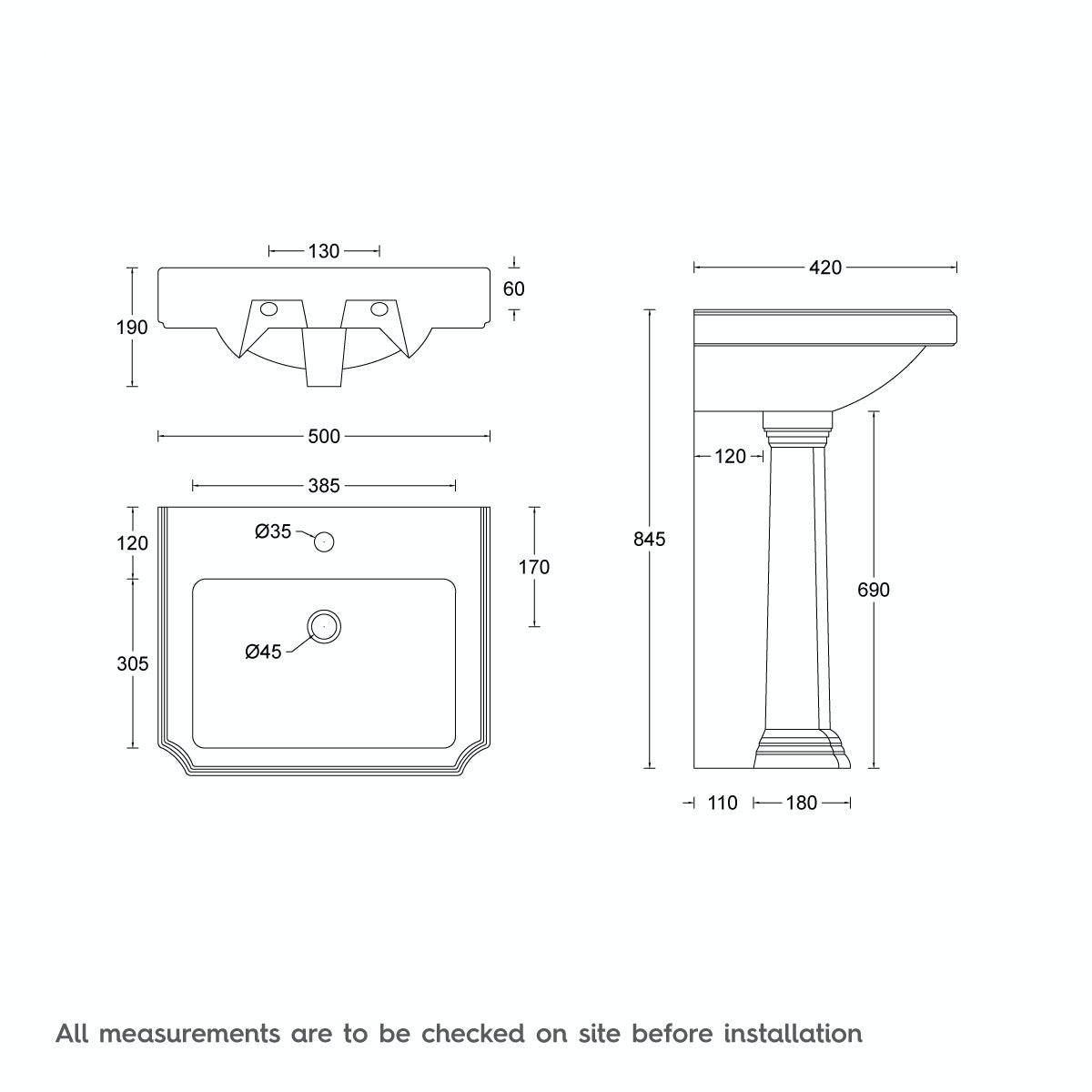 Dimensions for The Bath Co. Dulwich 1 tap hole full pedestal basin 500mm