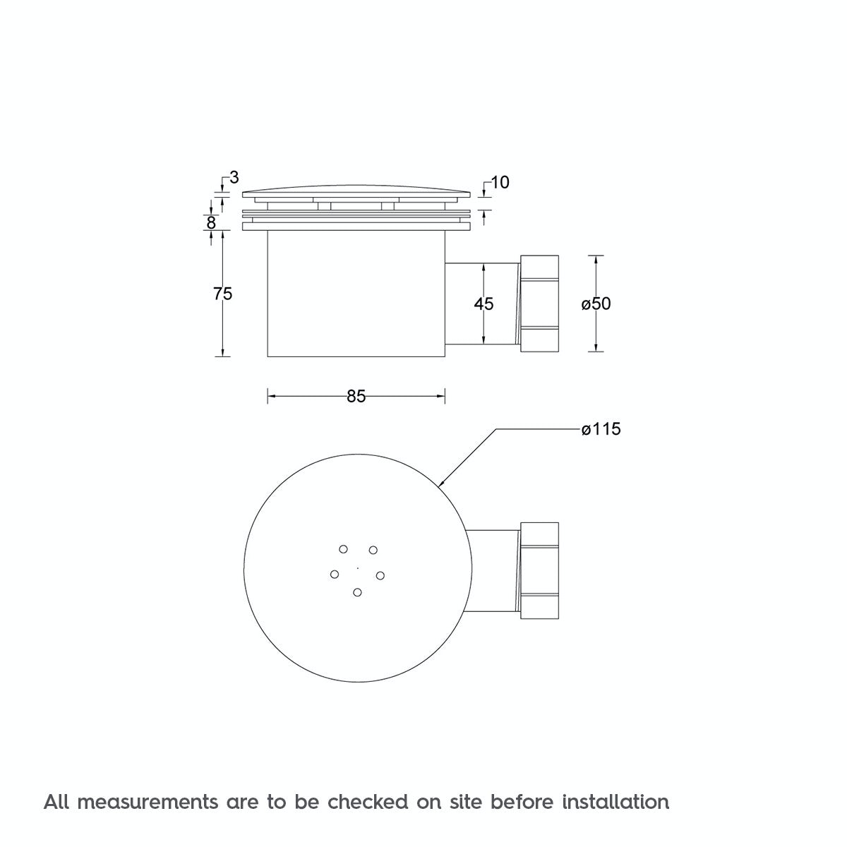 Dimensions for 90mm slimline shower tray waste
