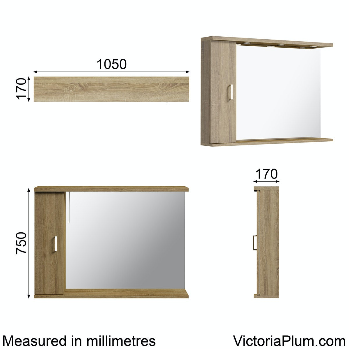 Dimensions for Sienna oak bathroom mirror with lights 1050mm