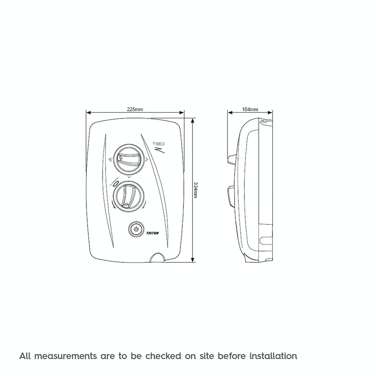 Dimensions for Triton T80z fast fit electric shower 10.5Kw