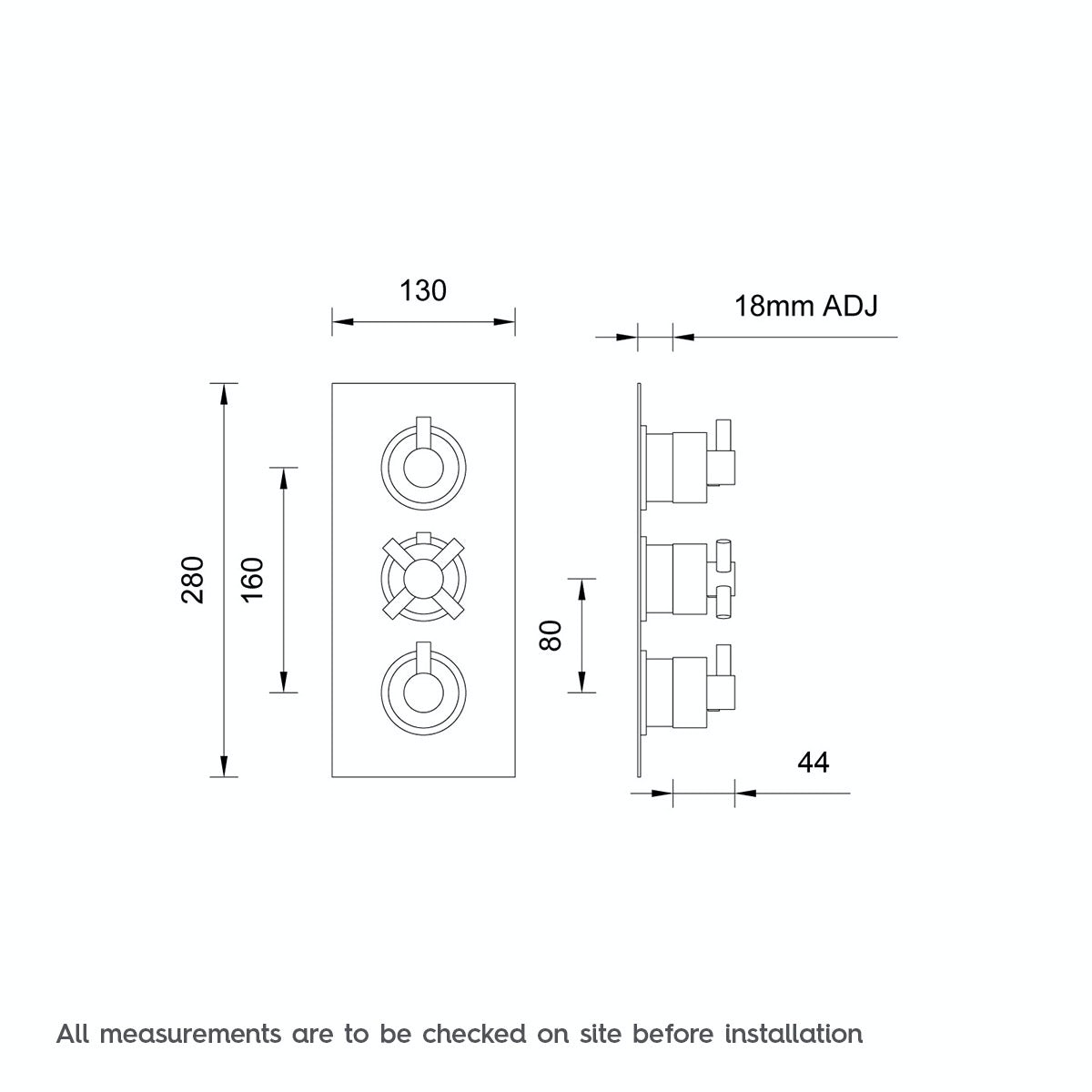 Dimensions for Mode Alexa square triple thermostatic shower valve with diverter