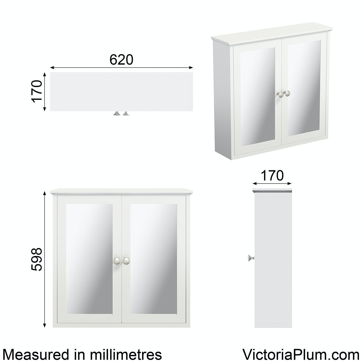 Dimensions for The Bath Co. Camberley white wall hung mirror cabinet