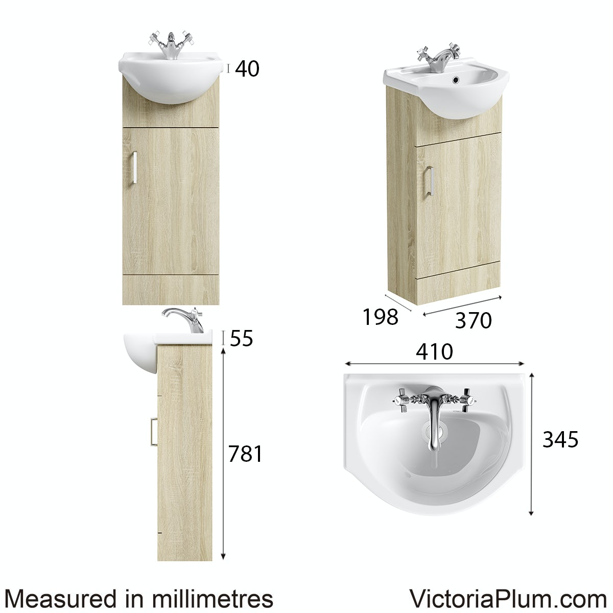 Dimensions for Orchard Eden oak vanity unit and basin 410mm