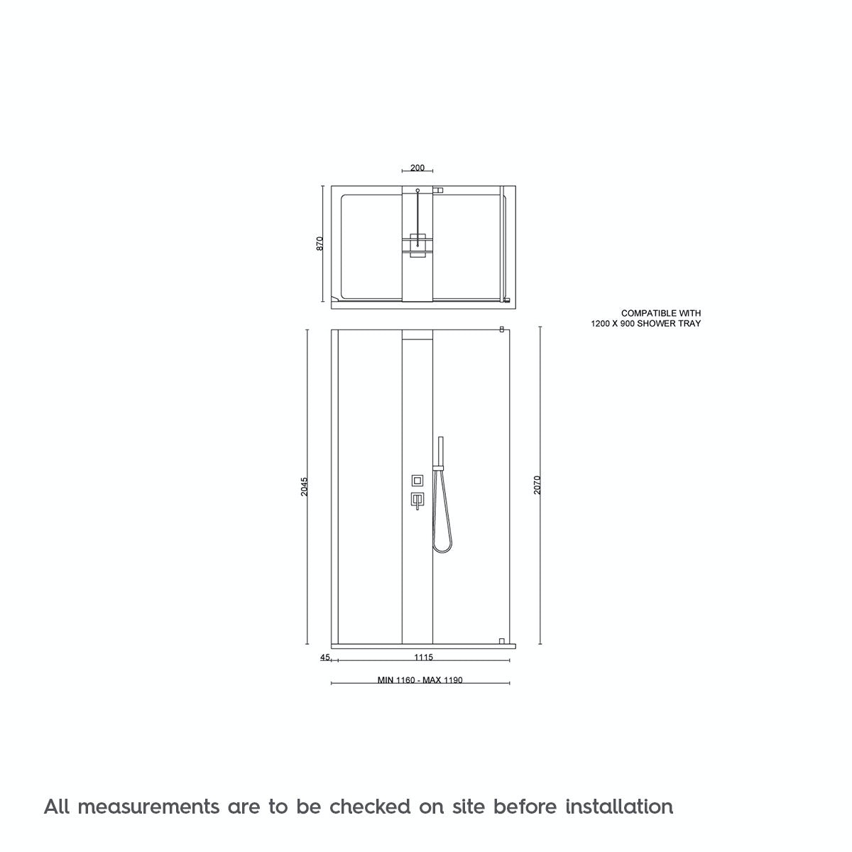 Complete walk in shower enclosure system 1200 x 900 for Walk in shower plans and specs