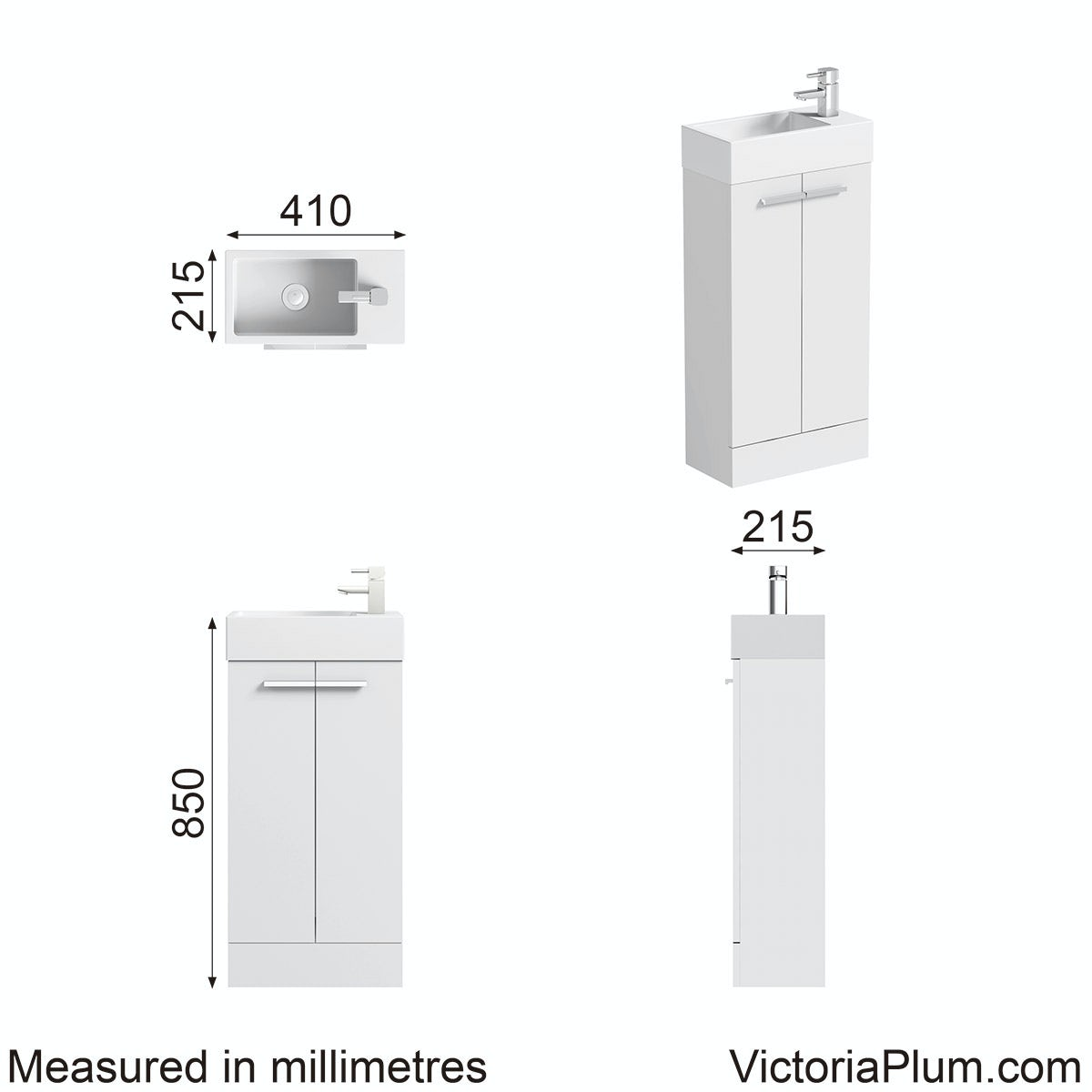 Dimensions for Orchard White cloakroom unit with resin basin 410mm