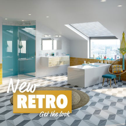 A bathroom suite with retro styling