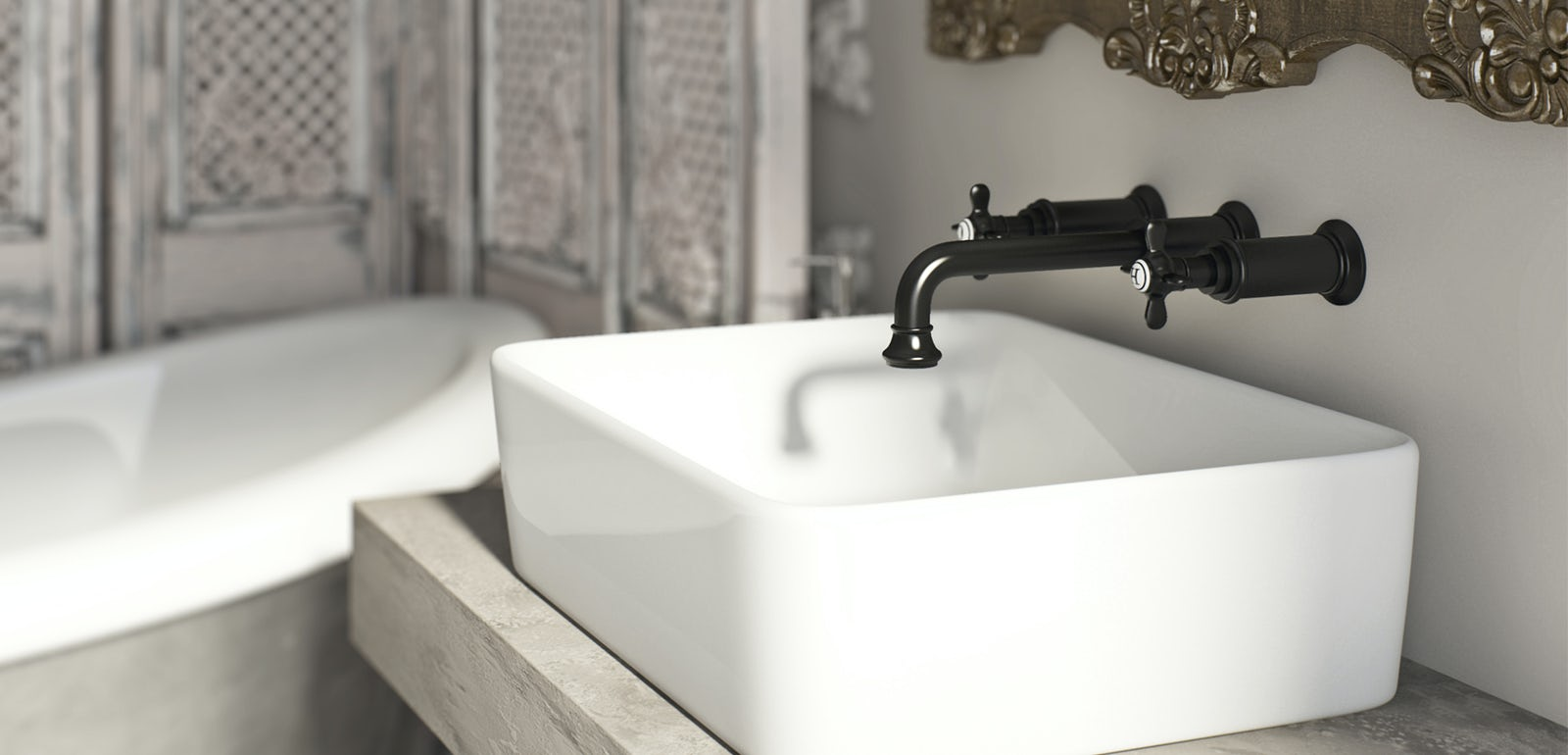 A contemporary wall-mounted chrome basin tap with black handles