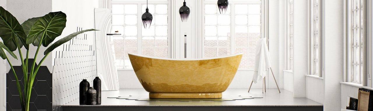 Luxurious gold finish Belle de Louvain bath