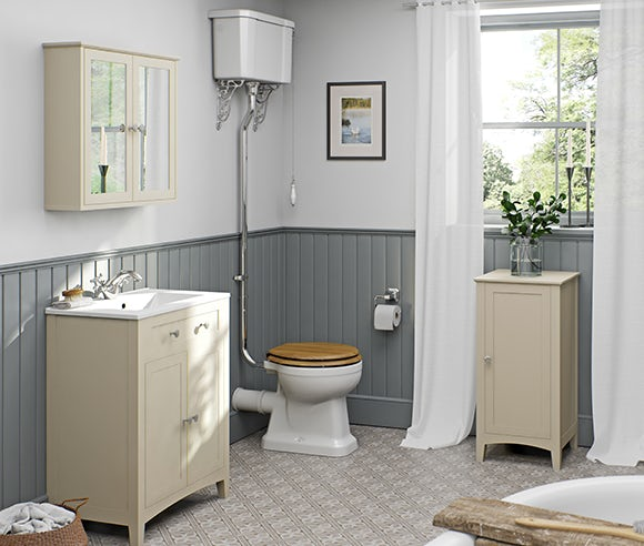 Camberley satin ivory bathroom furniture