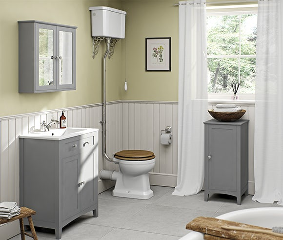 Camberley satin grey bathroom furniture