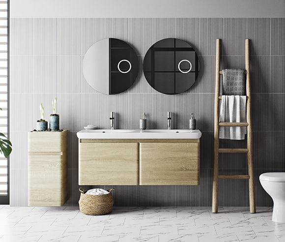 Heath oak bathroom furniture