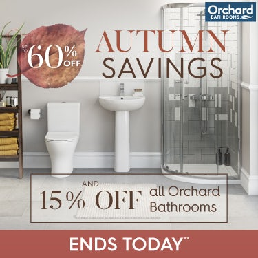 Up to 60% off Autumn Savings and 15% off all Orchard Bathrooms