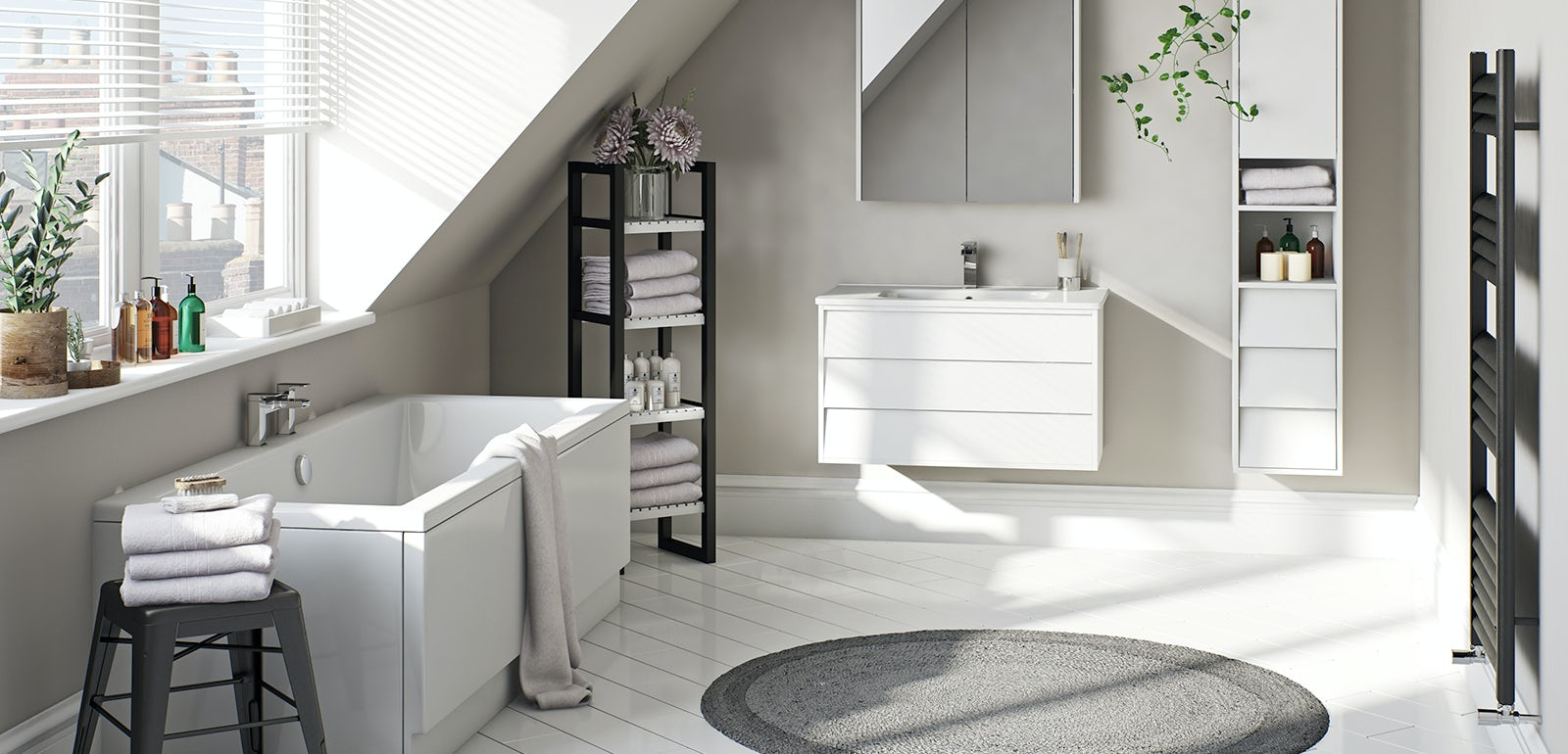 A traditional bathroom set-up with a white vanity unit and tall white cupboards