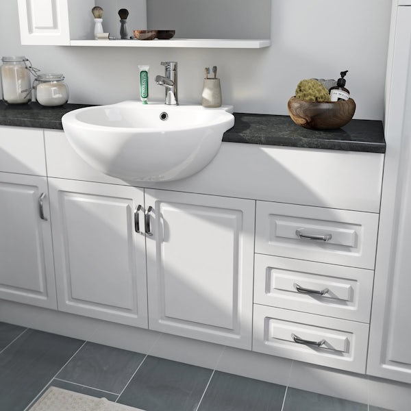 Florence Large Corner Pack with Storage Unit and Black Worktop