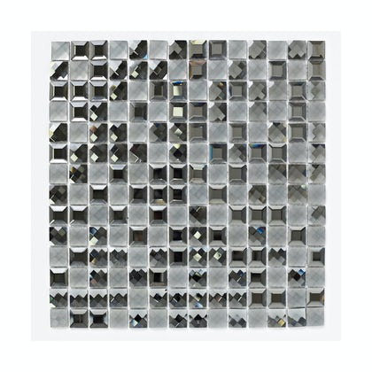 British Ceramic Tile Mosaic glisten black gloss tile 300mm x 300mm - 1 sheet