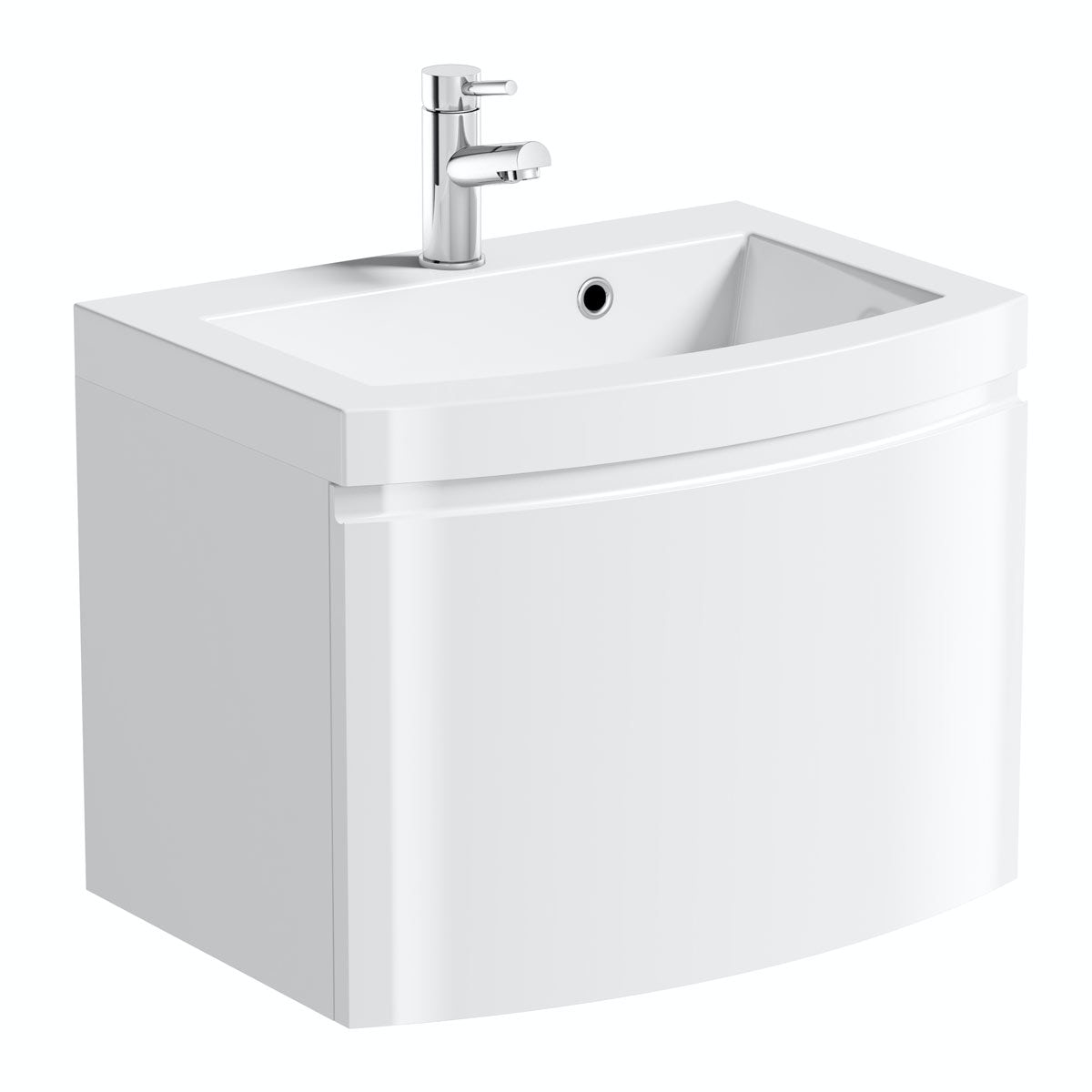 Curvaceous Snow 600 Wall Drawer Unit & Basin