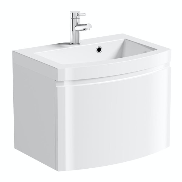 Mode Harrison snow furniture package with wall hung vanity unit 600mm
