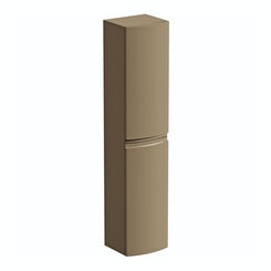 Curvaceous latte wall hung storage cabinet