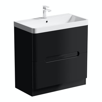 Mode Planet black vanity drawer unit and basin 800mm