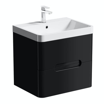 Mode Planet black wall hung vanity drawer unit and basin 600mm
