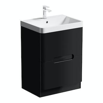 Mode Planet black vanity drawer unit and basin 600mm
