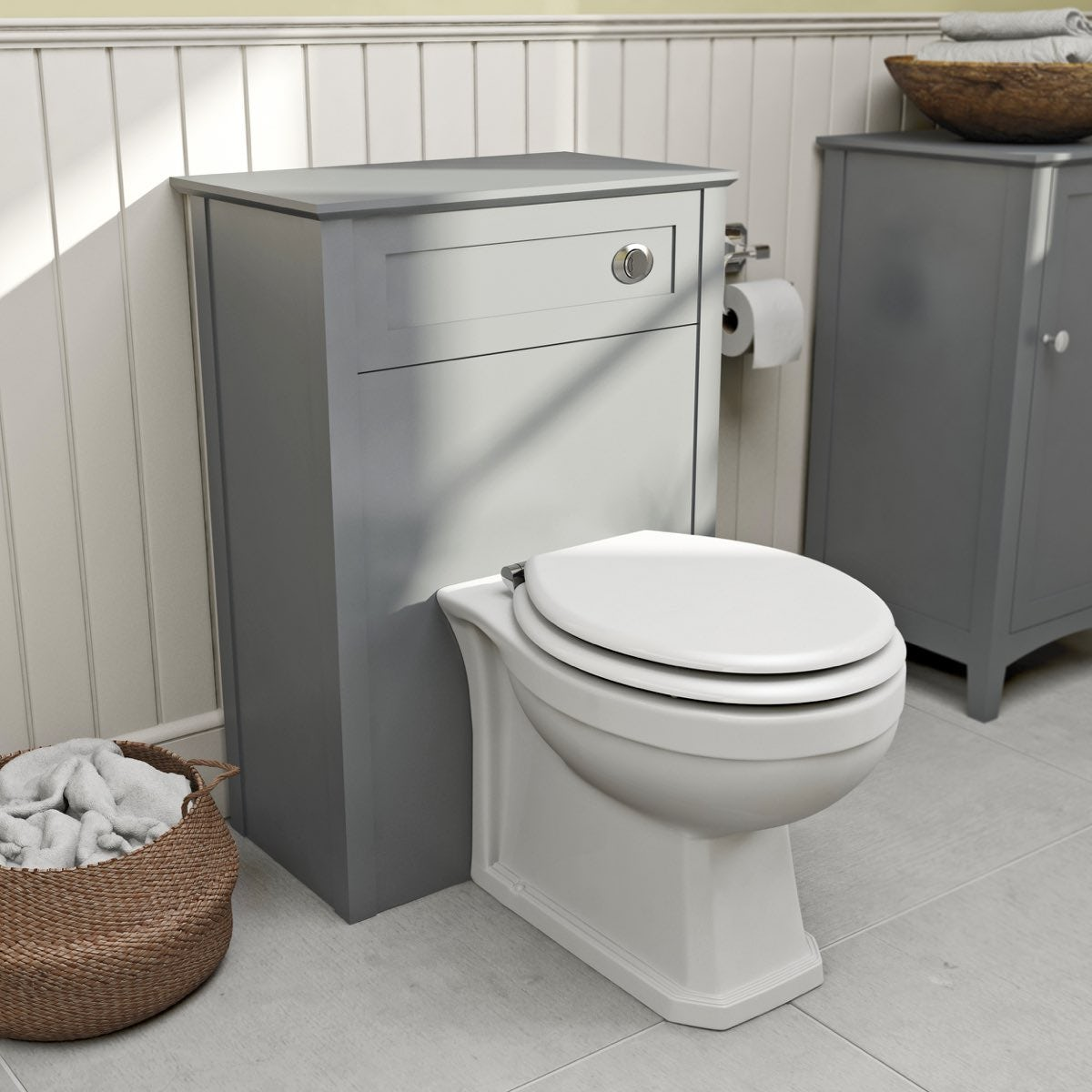 The Bath Co. Camberley grey back to wall toilet unit and traditional back to wall toilet