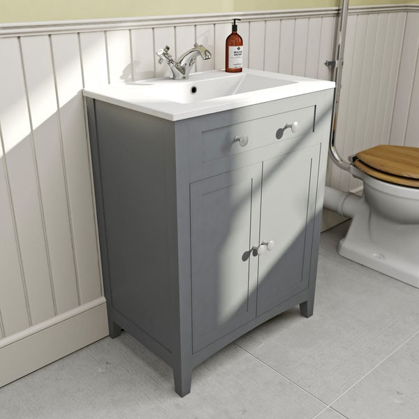 Camberley Grey 600 Floor Door Unit & Basin