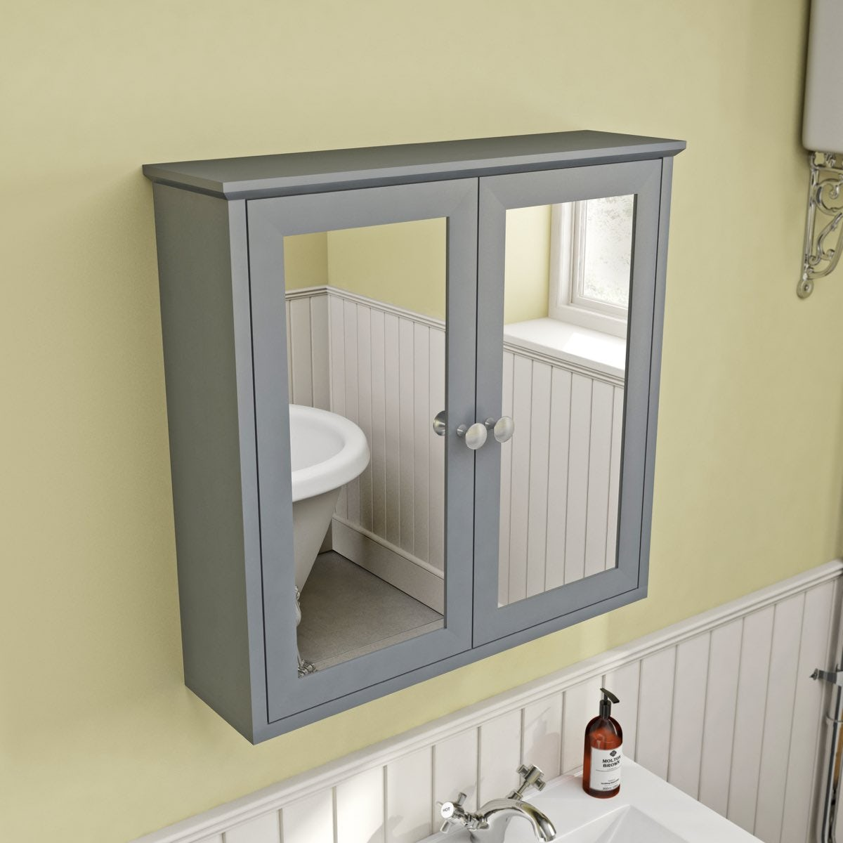 The bath co camberley satin grey wall hung mirror cabinet for Bathroom mirror cupboard