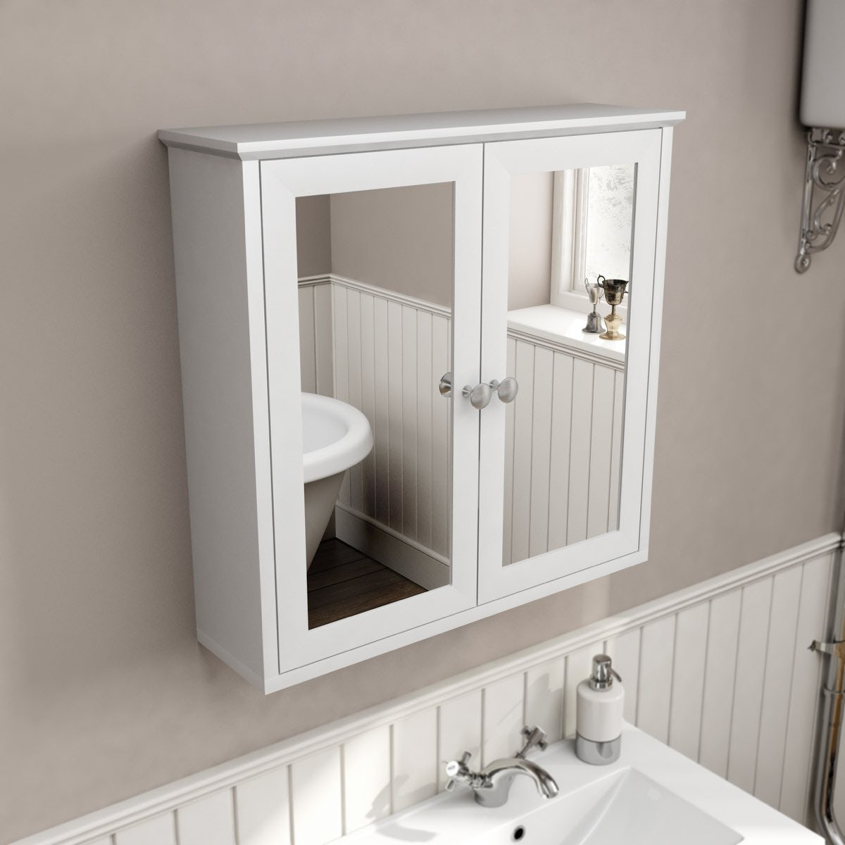 Camberley White Wall Hung Mirror Cabinet
