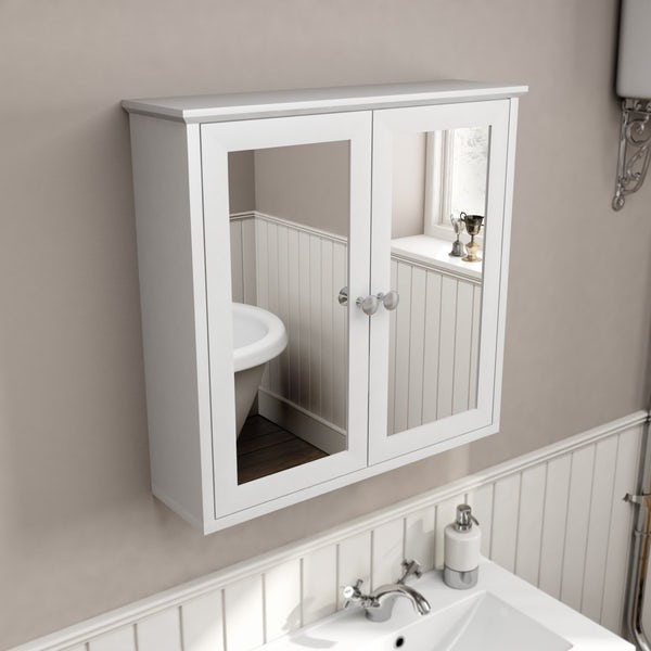 Camberley White 800 vanity unit and mirror cabinet offer