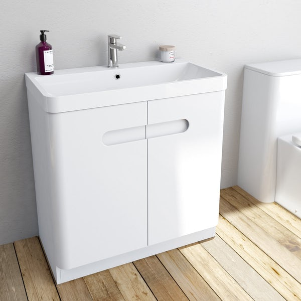 Mode Ellis white vanity door unit and basin 800mm