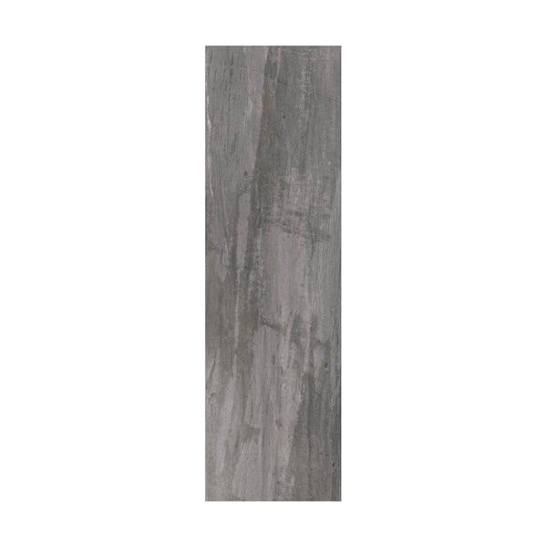 British Ceramic Tile Bark charcoal wood effect grey matt tile 148mm x 498mm