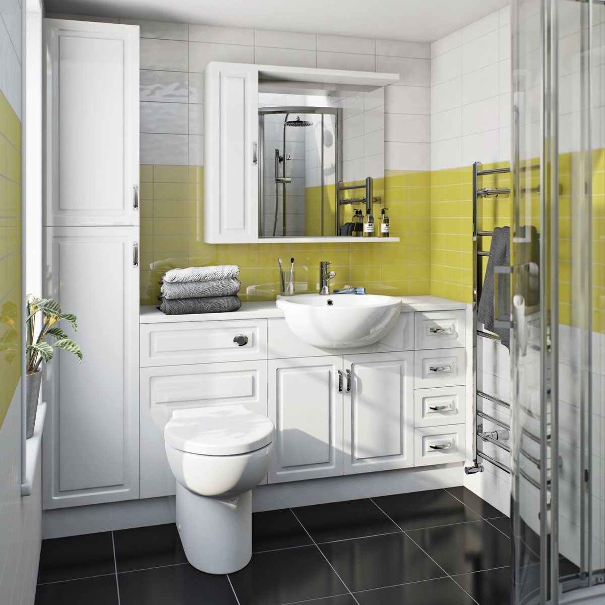 Florence Straight Ensuite Pack with Drawer Unit and White Worktop