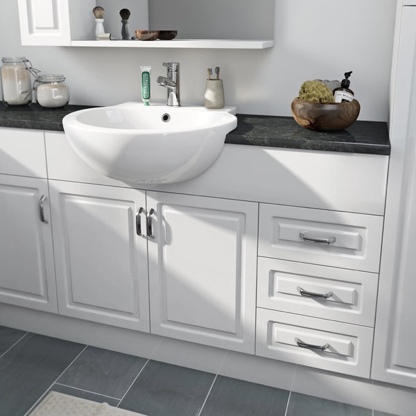 Florence Large Straight Pack with Storage Unit and Black Worktop