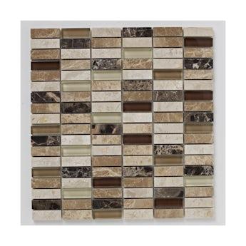 Mosaic dapple beige matt tile 305mm x 305mm - 1 sheet
