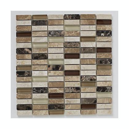 British Ceramic Tile Mosaic dapple beige matt tile 305mm x 305mm - 1 sheet