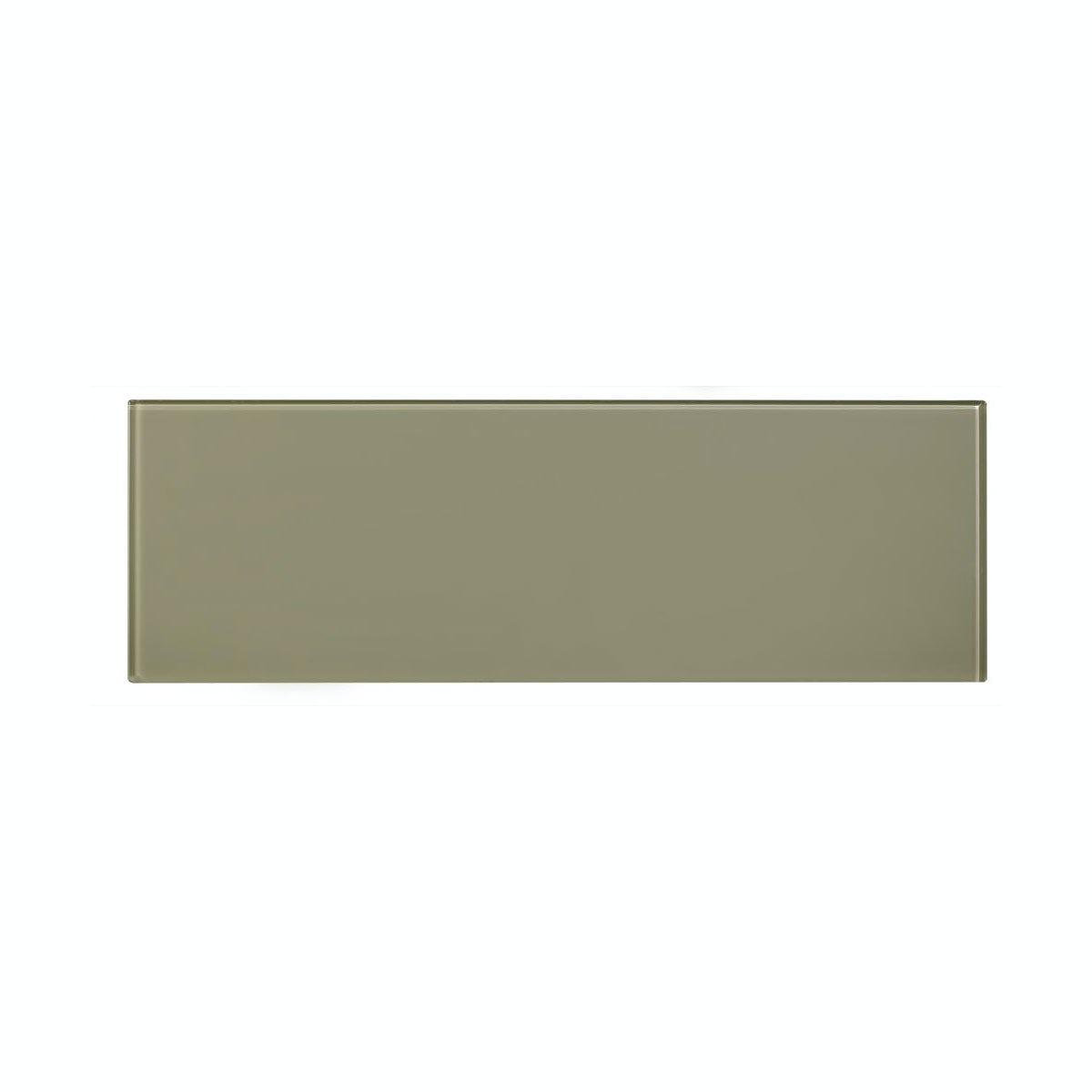 British Ceramic Tile glass olive tile 148mm x 448mm