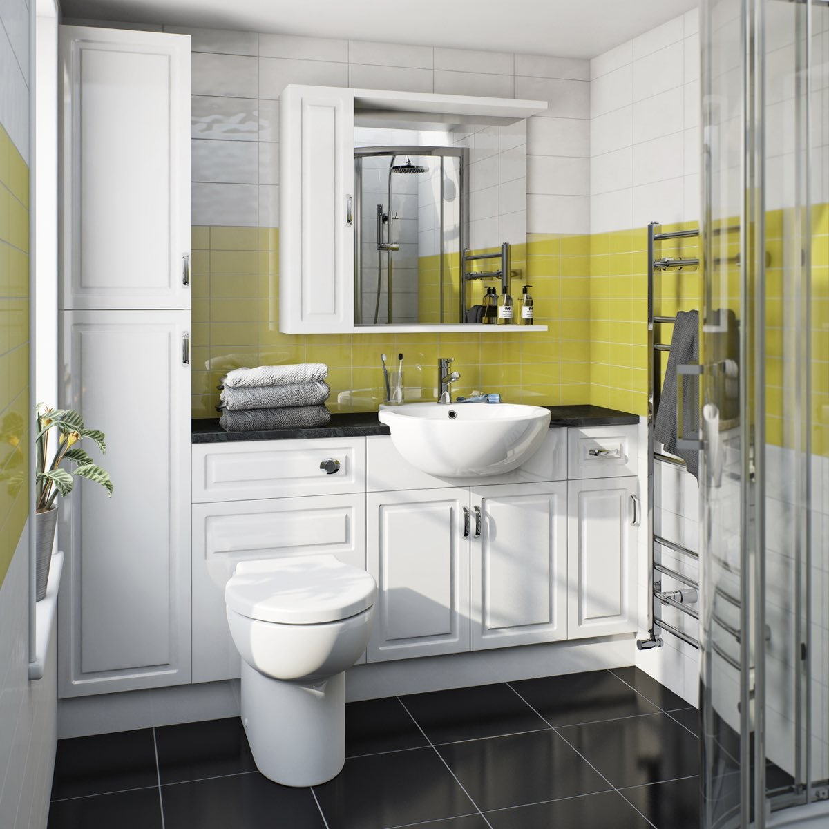 Florence Straight Ensuite Pack With Storage Unit And Black Worktop