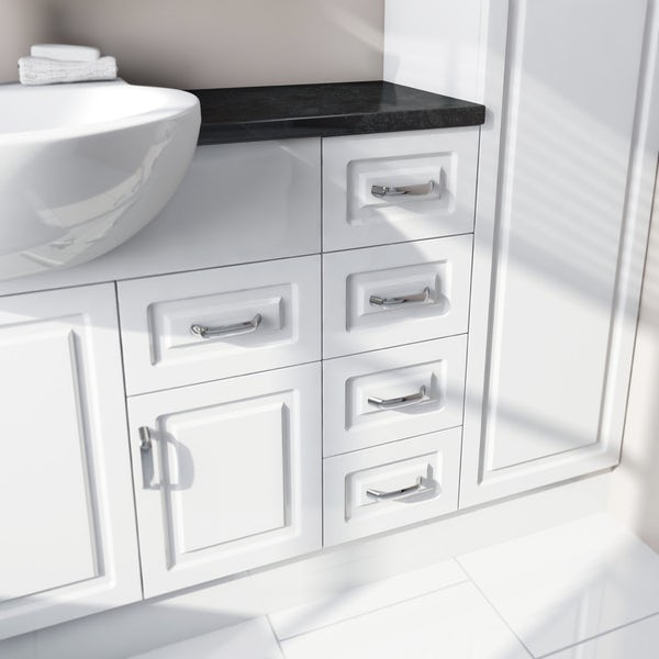 Florence Corner Ensuite Pack with Drawer Unit and Black Worktop