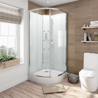 Glass backed quadrant shower cabin 900 x 900 offer pack