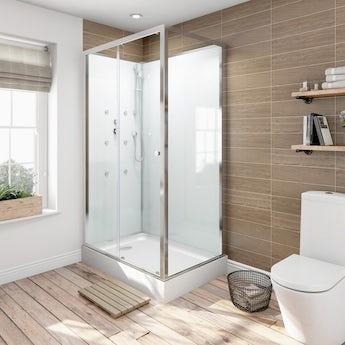 Glass backed rectangular shower cabin 1200 x 800 offer pack