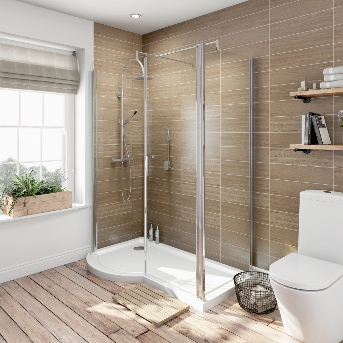 Orchard 6mm left handed P shaped shower enclosure 1500 x 900