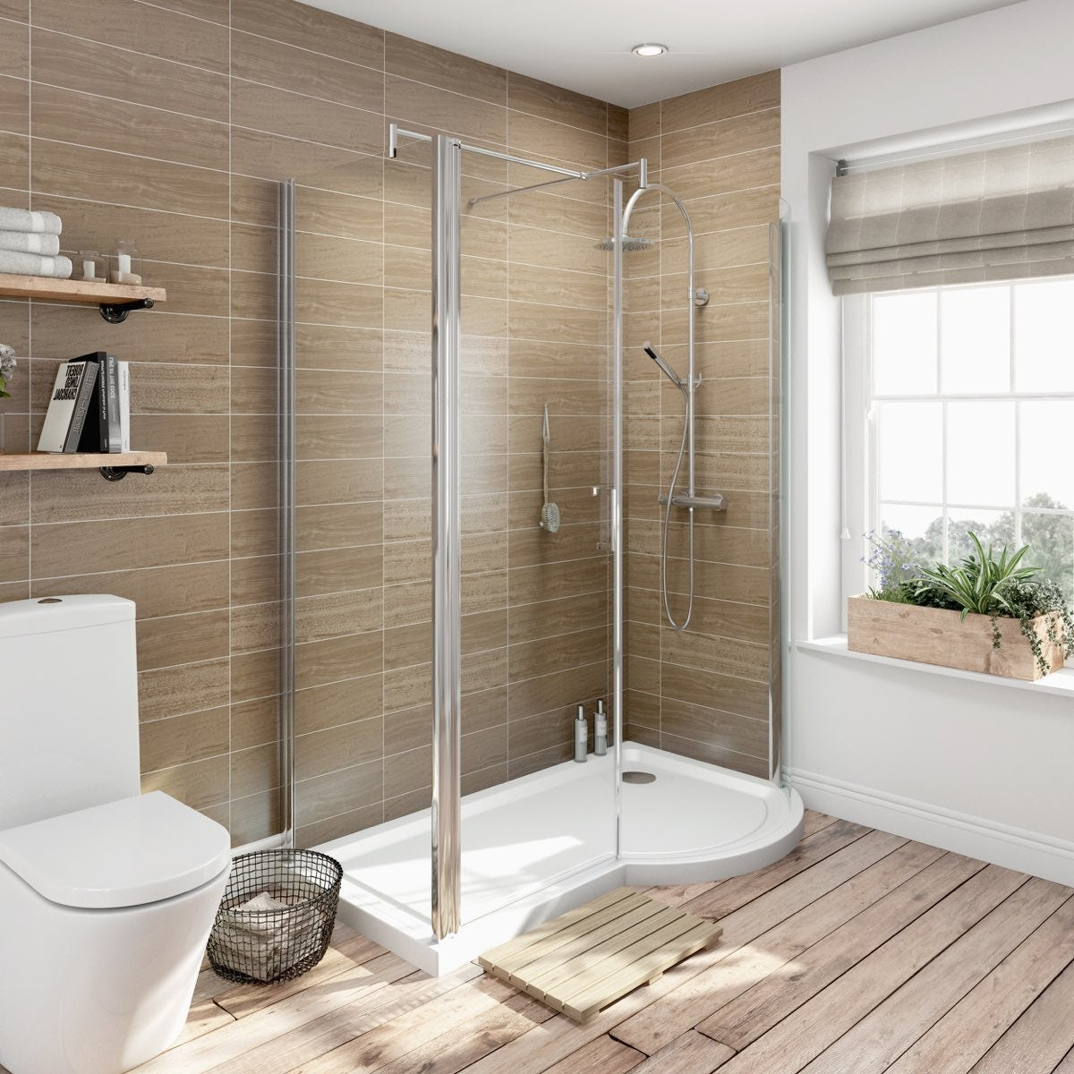 6mm right handed P shaped shower enclosure 1500 x 900
