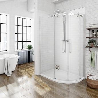 8mm Frameless Offset Quadrant Shower Enclosure 1200 x 800