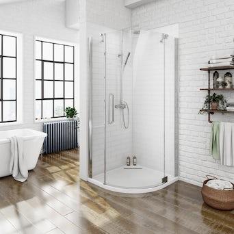 8mm Frameless Quadrant Hinged Shower Enclosure 900 RH