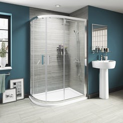 Luxury 8mm sliding offset quadrant shower enclosure 1200 x 800
