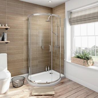 6mm Keyhole Quadrant Enclosure 1000x900 RH with Shower Tray
